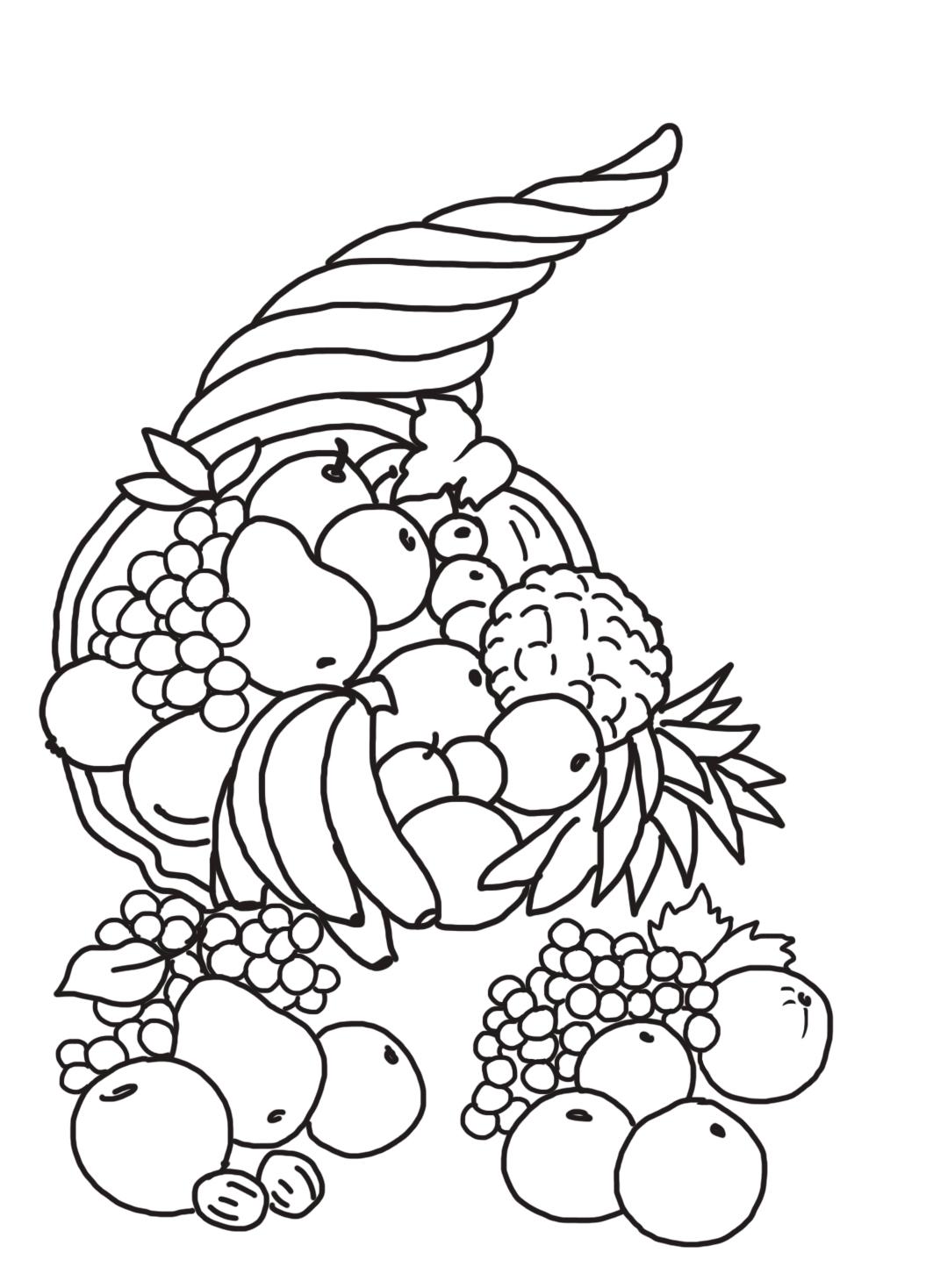 Thanksgiving cornucopia with fruits