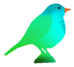 fantasy colored bird silhouette