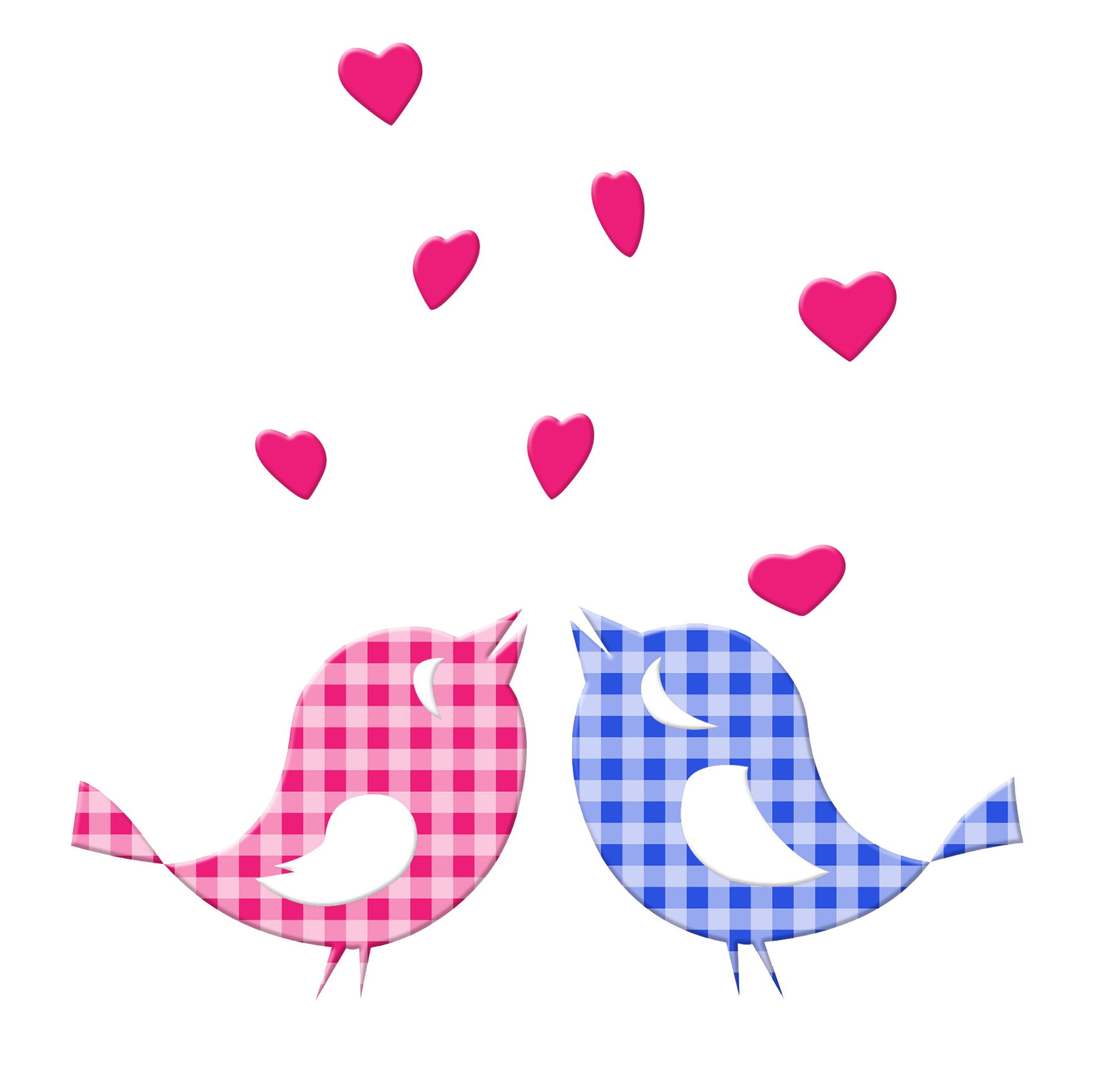 Two cute love birds and hearts