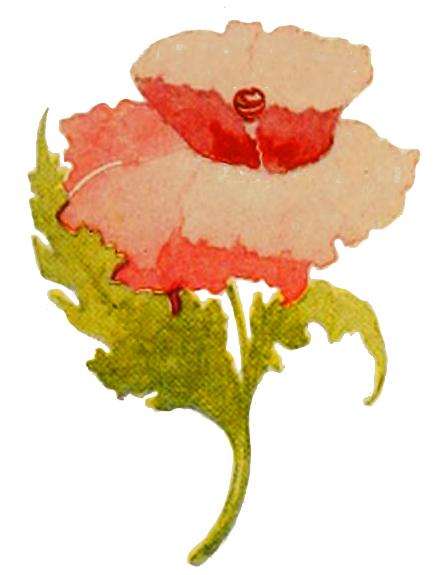 red flower art nouveau style