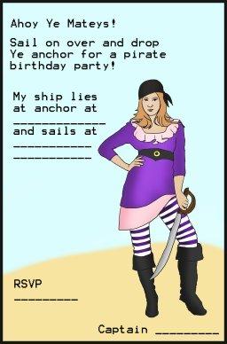 pirate birthday invitation girl pirate