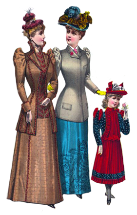 two Victorian ladies and a girl