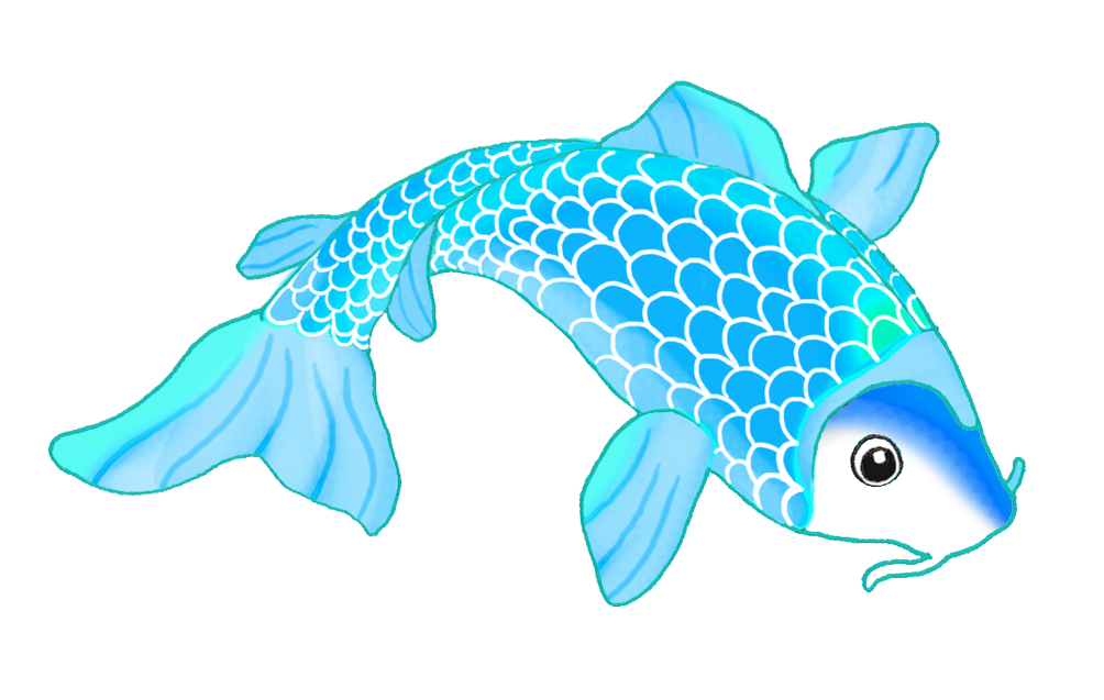 beautiful blue koi fish drawing