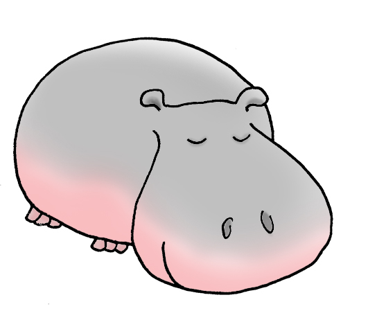 sleeping hippo simple drawing color