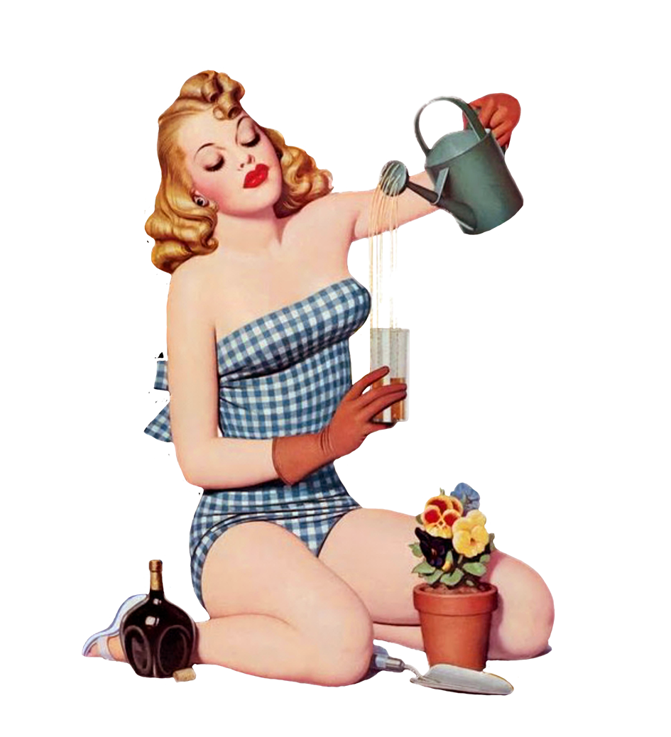 vintage clipart of garden girl 1948