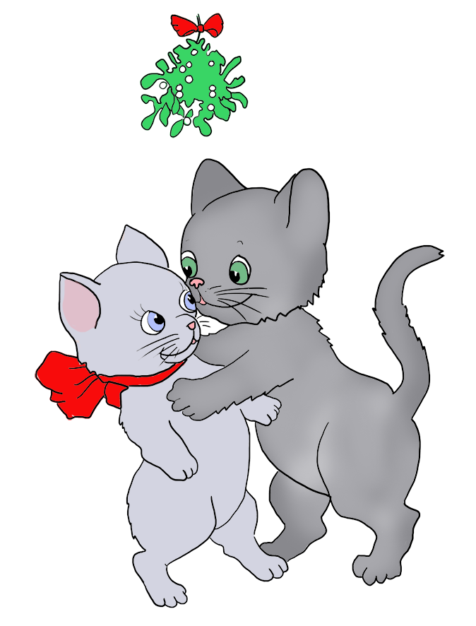 cats kissing under mistletoe at Christmas