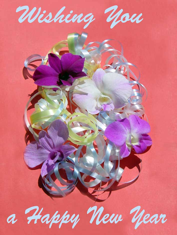 happy New Year card flowers and silver ribbons
