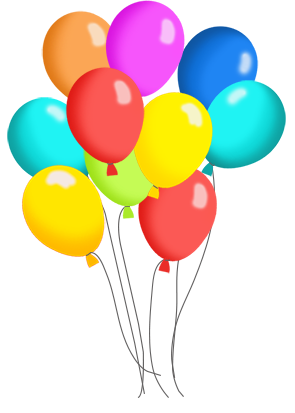 birthday balloons in many colors for birthday