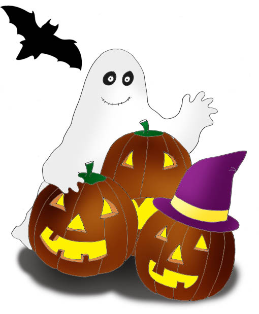 ghost and pumpkins for Halloween