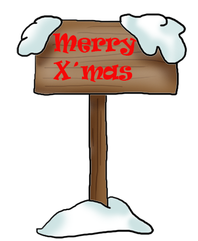 Merry x'mas sign with snow