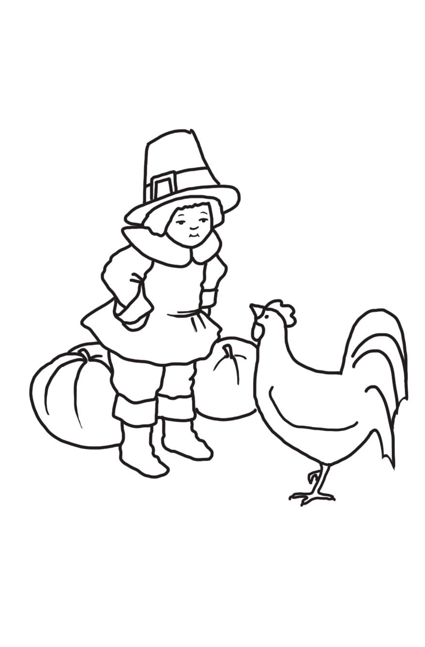 pilgrim boy with hen and pumpkins