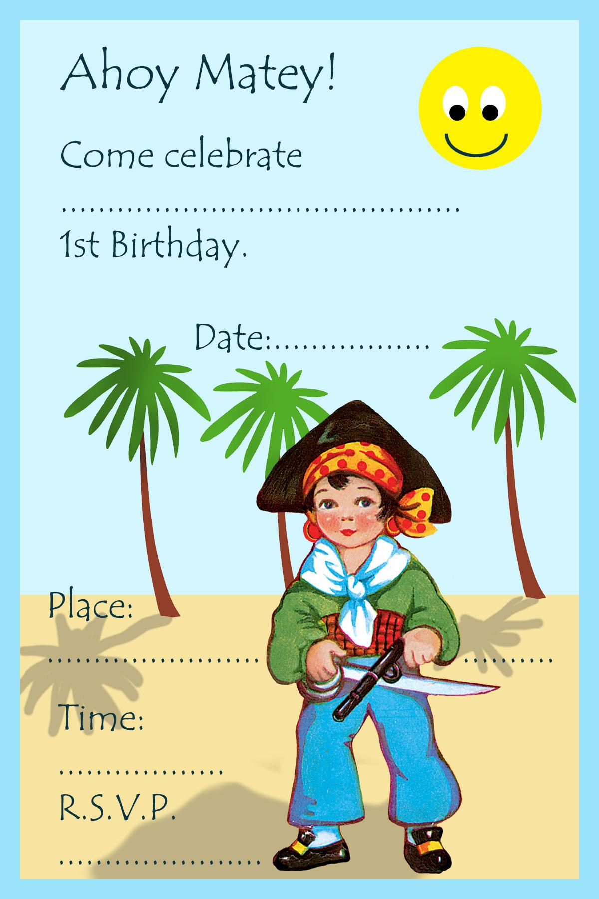 1st birthday invitation with pirate