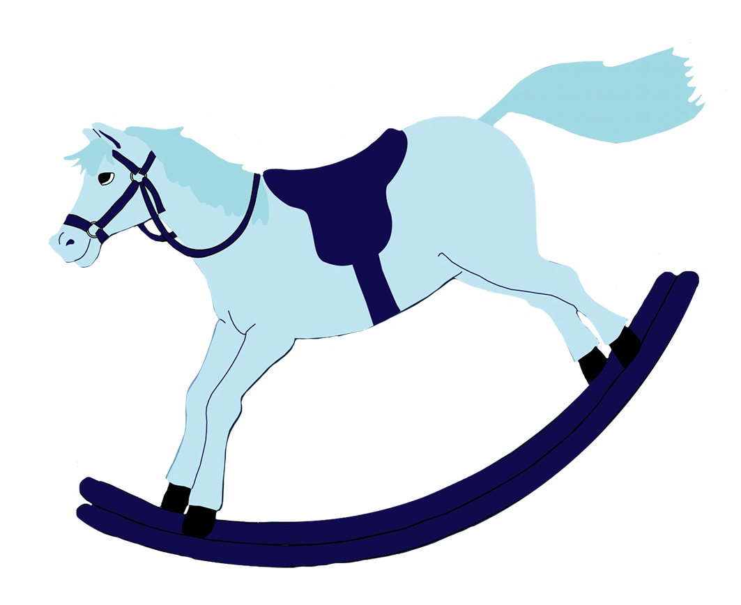 blue rocking horse baby clipart