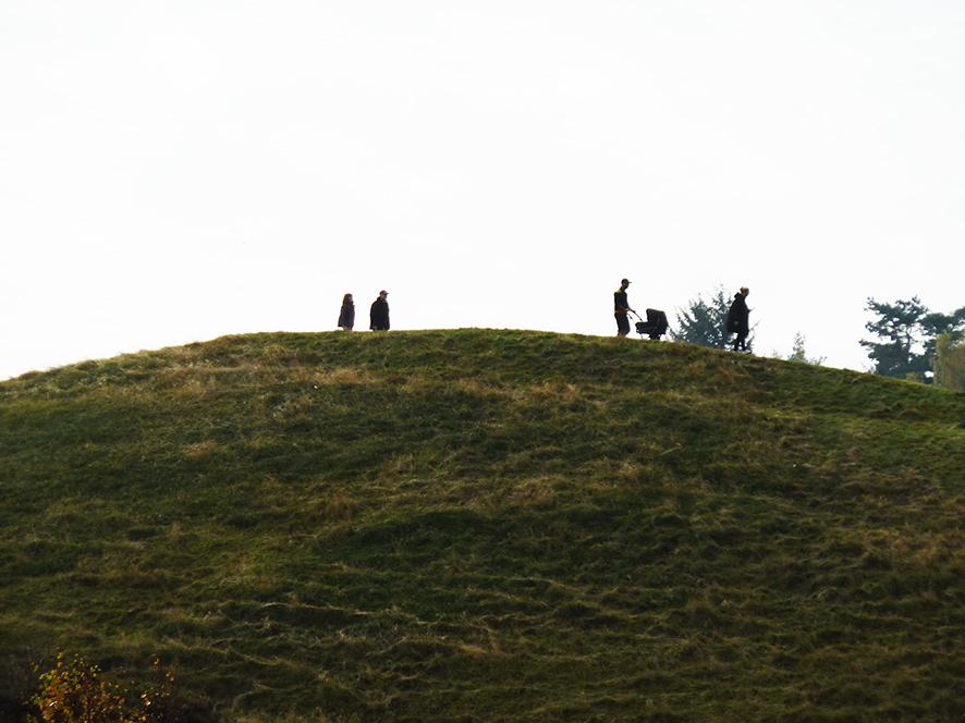 people walking in the autumn on moorland