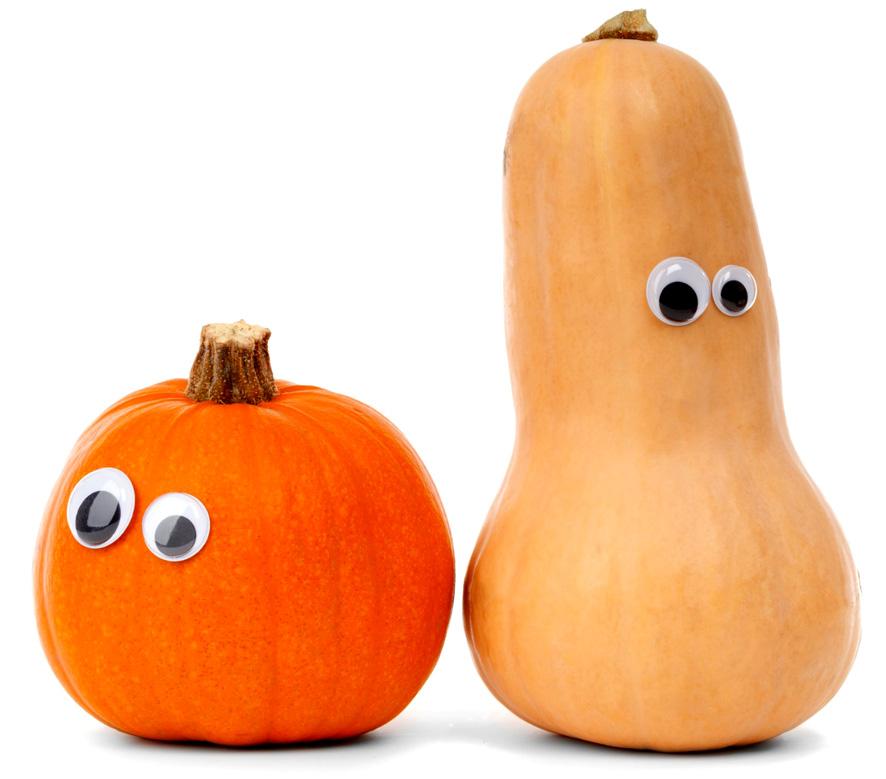 two funny pumpkins