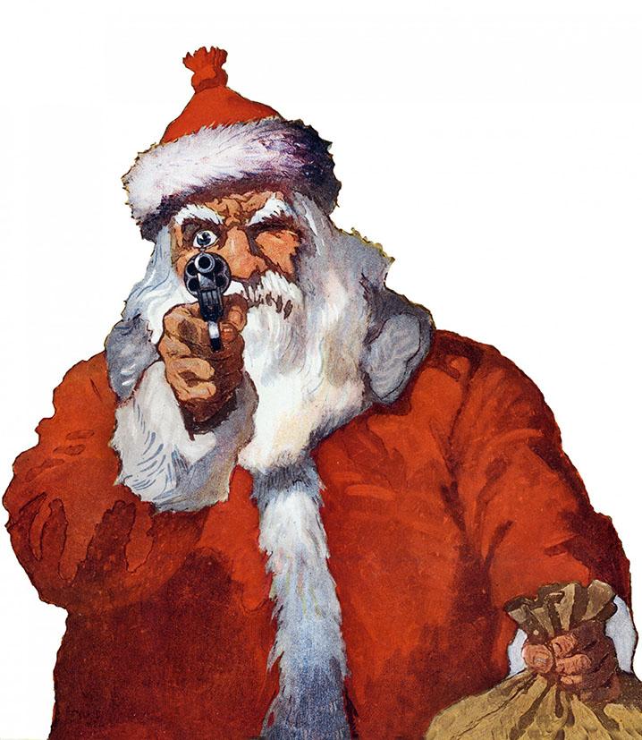 Santa pointing a gun