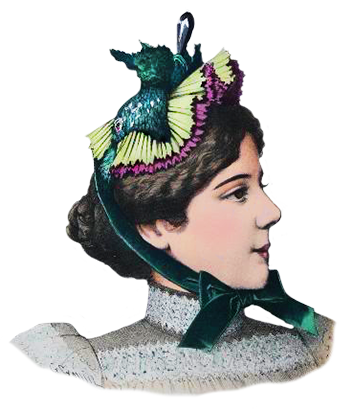 Victorian womens hat with feathers and ribbons