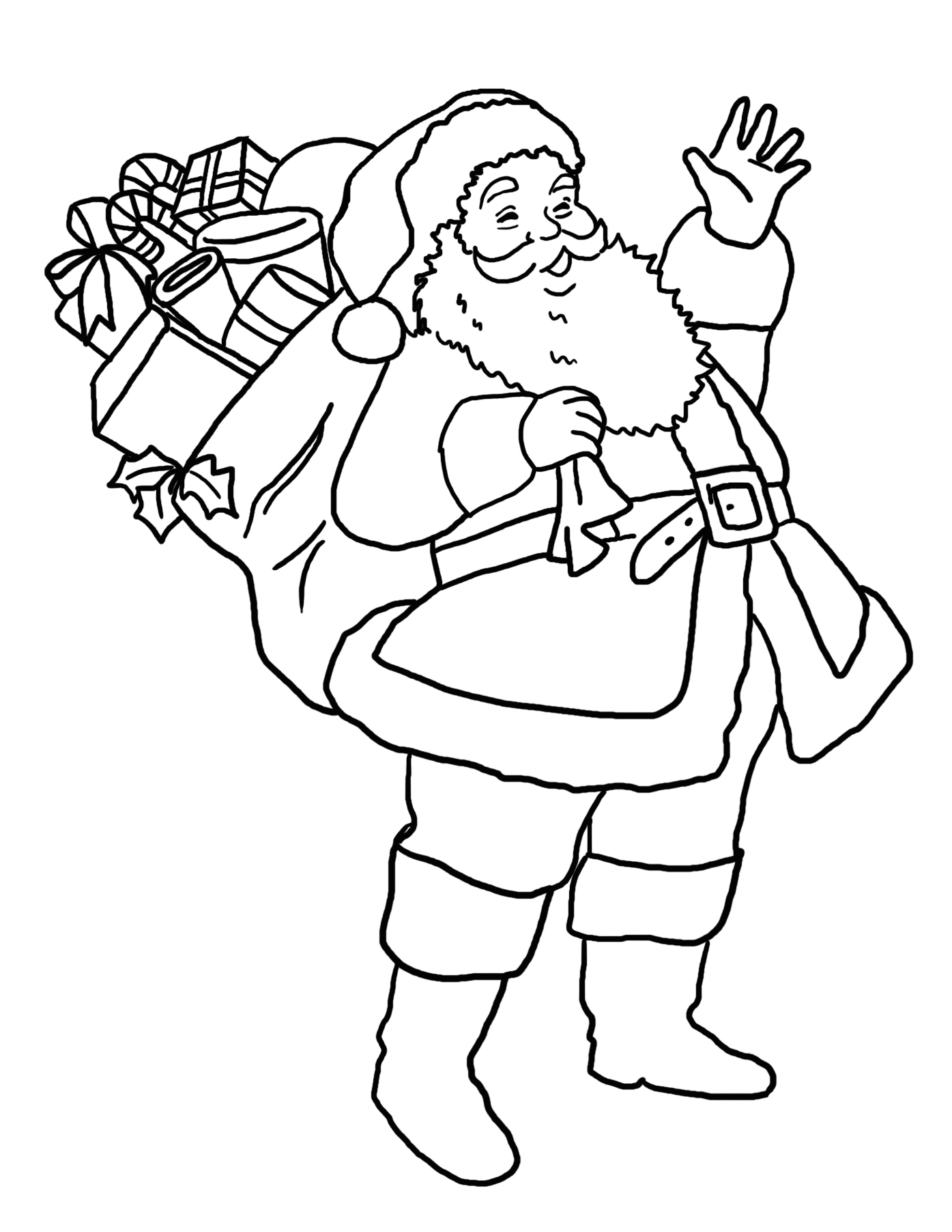 Coloring page Santa Claus with gift sack