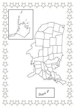 4th of July coloring pages map of USA and stars