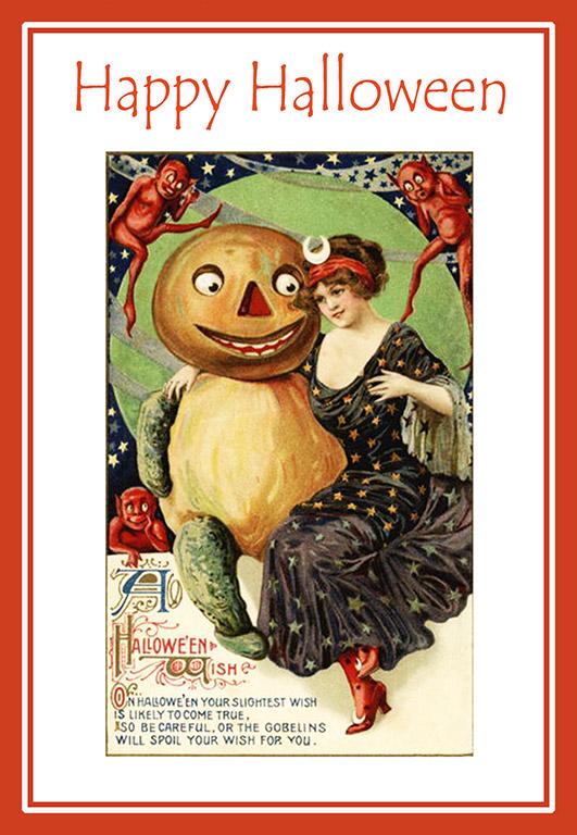 art nouveau halloween greeting card