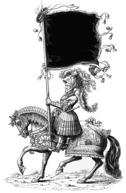 knight with horse and banner