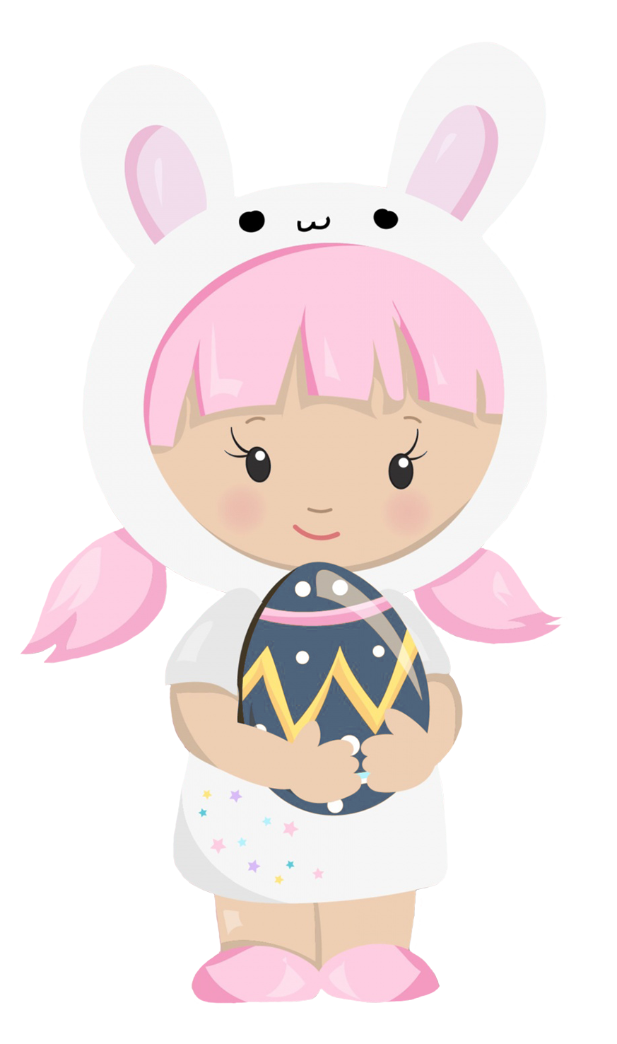cute Easter clipart girl dressed as bunny