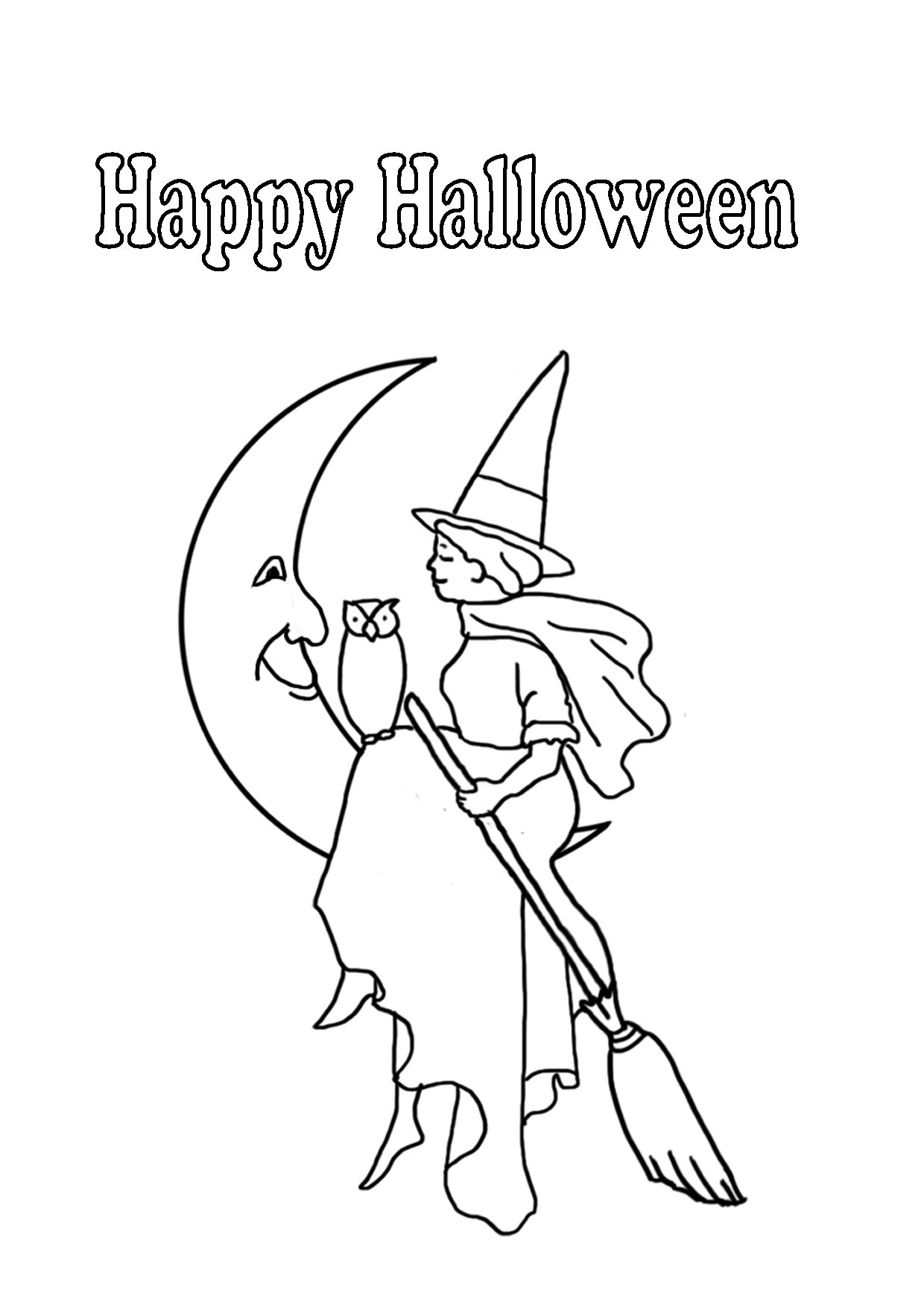 Halloween witch visiting the man in the moon