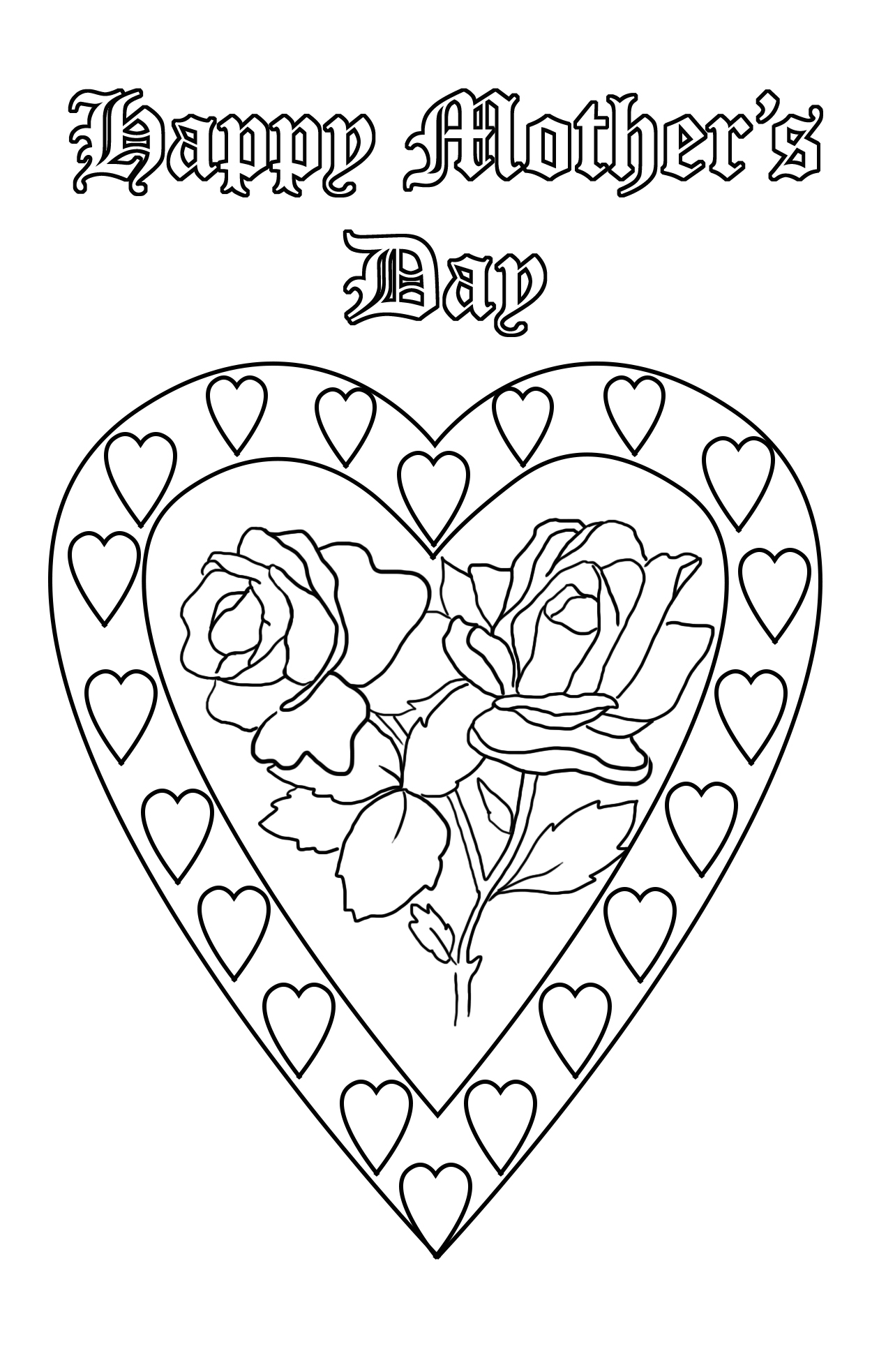 hearts and roses for Mother's day coloring