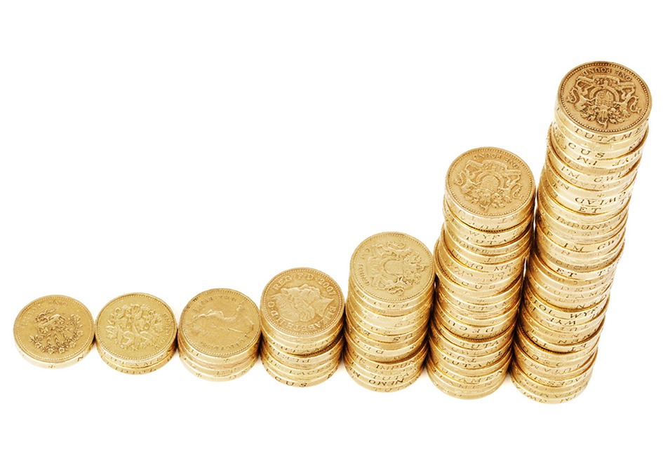 Money graph with coins
