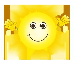 cartoon sun waving and smiling