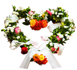 heart of flowers for the wedding