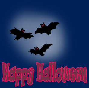 Happy Halloween greeting with bats