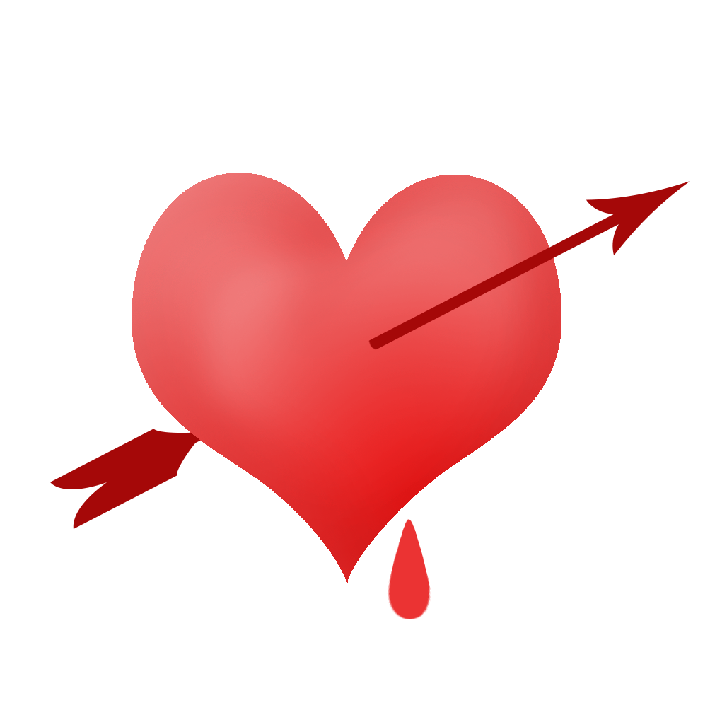 Piinched heart with blood drop and arrow