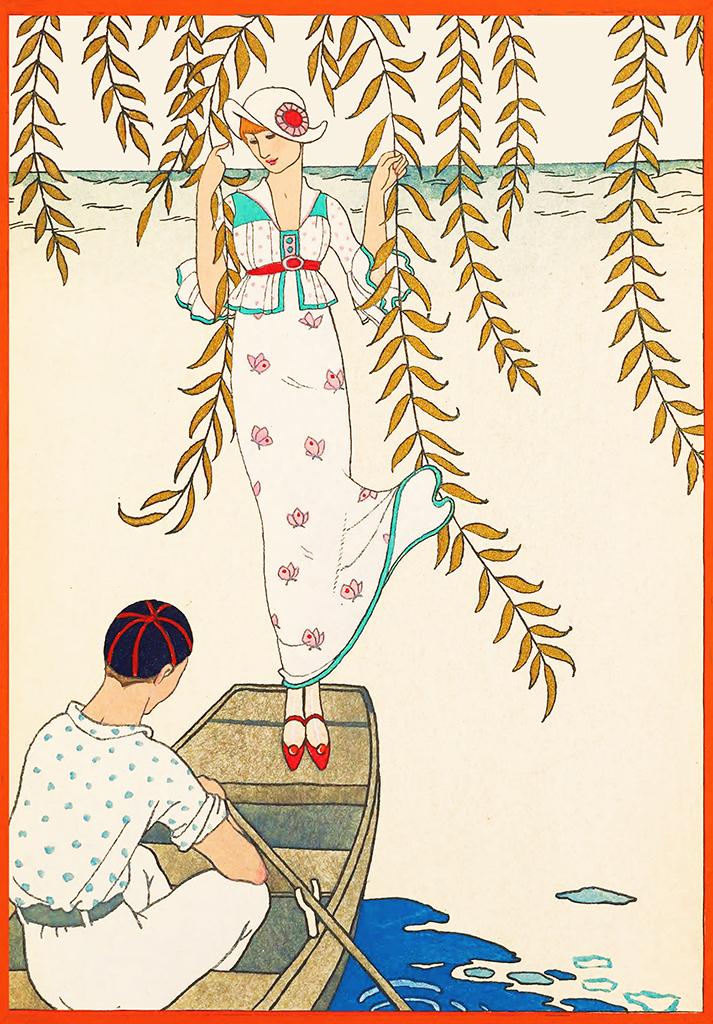 woman in boat art nouveau image