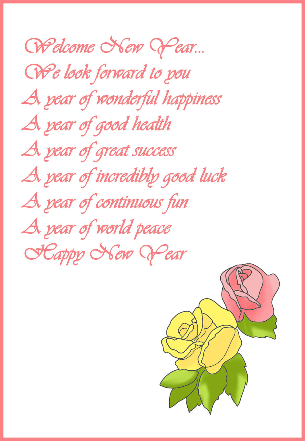 New Year card with poem