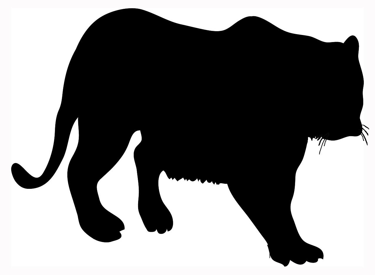 big silhouette of tiger black