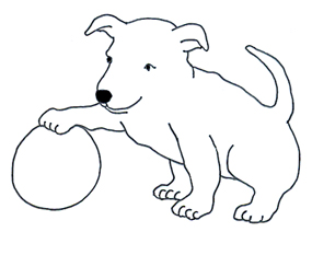 Drawing of puppy with ball
