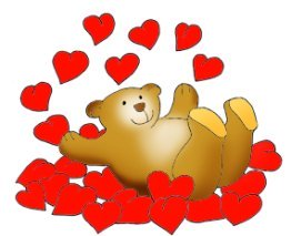 Valentine bear taking a bath in red hearts