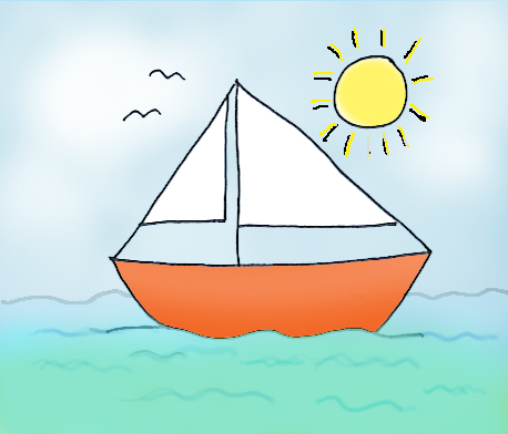 summer graphics sailboat