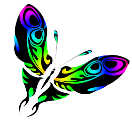 rainbow colored butterfly drawing