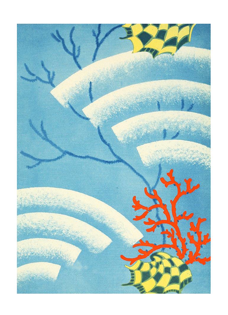art deco picture coral pattern