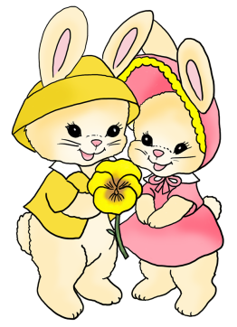 two Easter bunnies with pansy flower