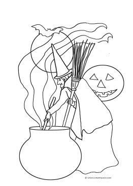 witch with cauldron moon and broom