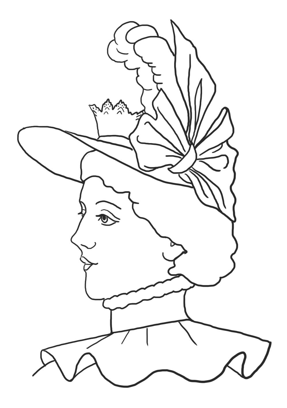 Coloring page tiara hat Victorian era