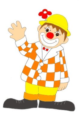 Birthday clip art clown smiling with red flower
