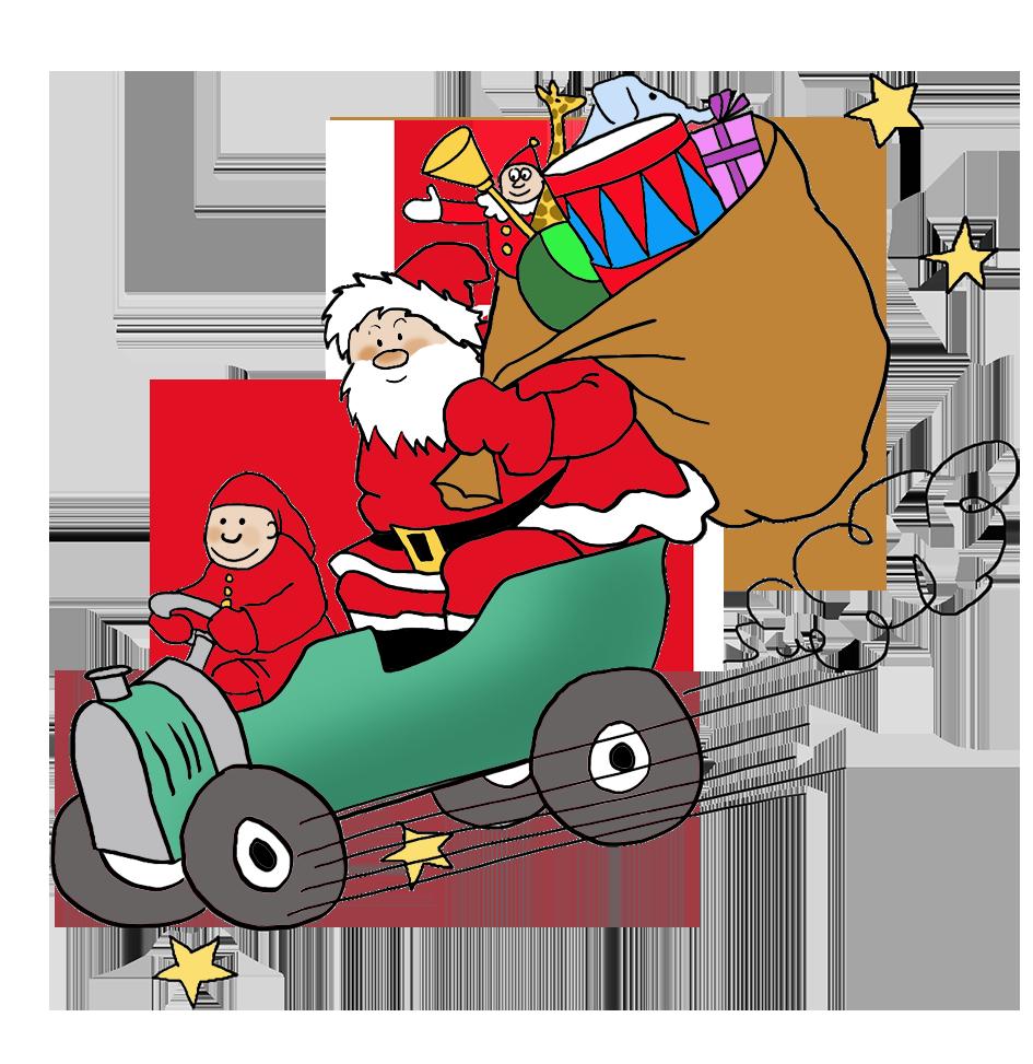 Santa bringing presents by car