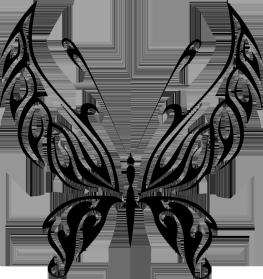 black butterfly drawing in shape