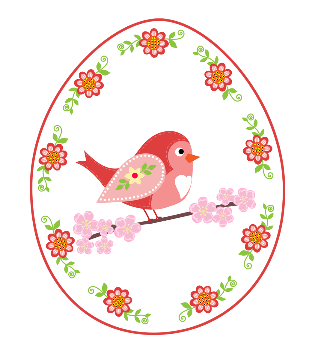 bird and flowers in egg shape