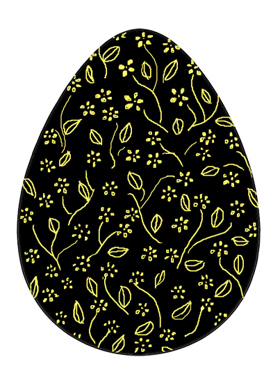 decorated Easter egg black yellow