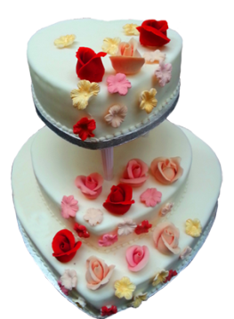 heart shaped wedding cake with flowers
